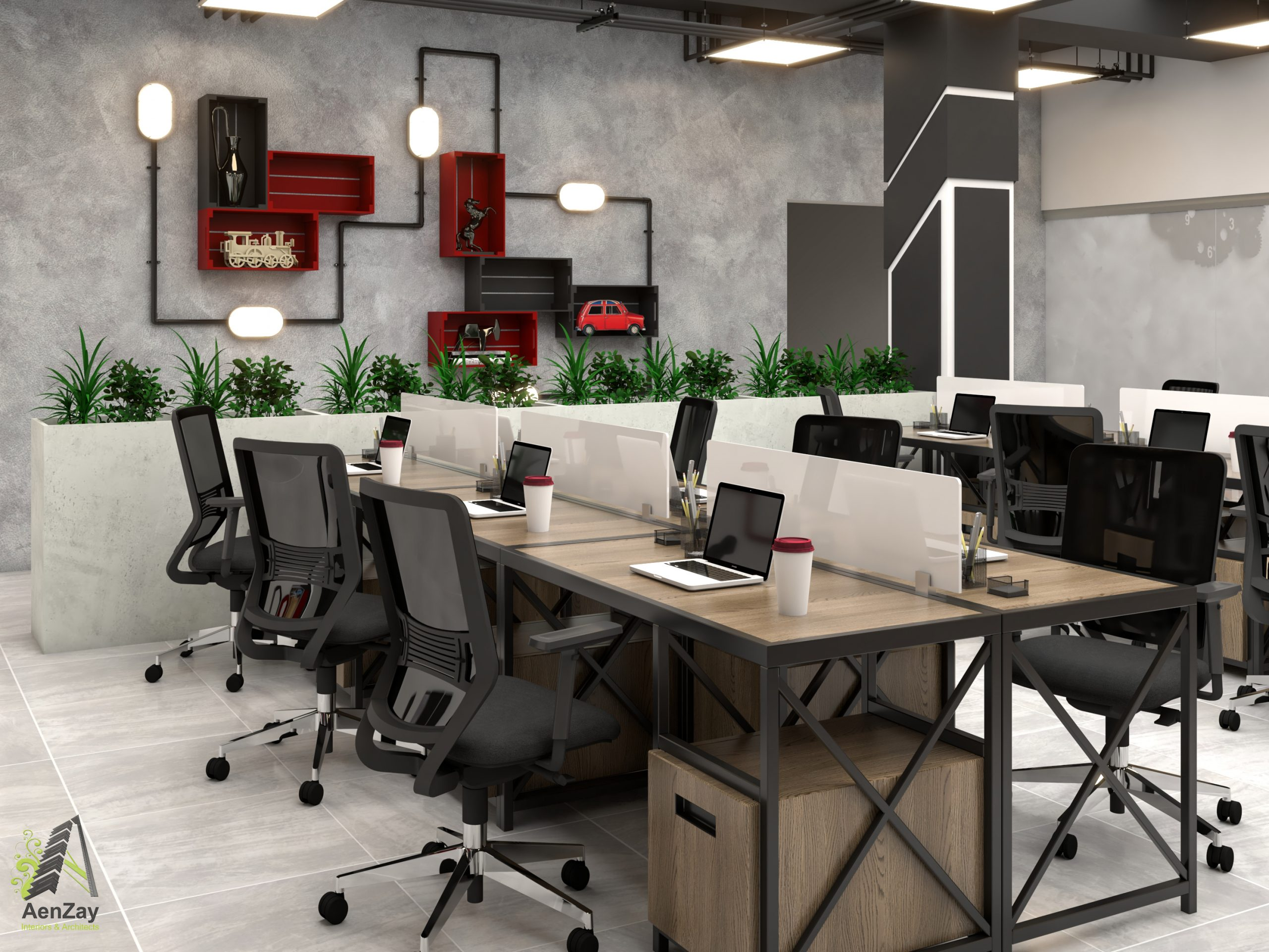 interior design corporate projects Workstation greenery